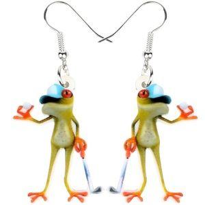 Golfing Golf Frog Acrylic Earrings